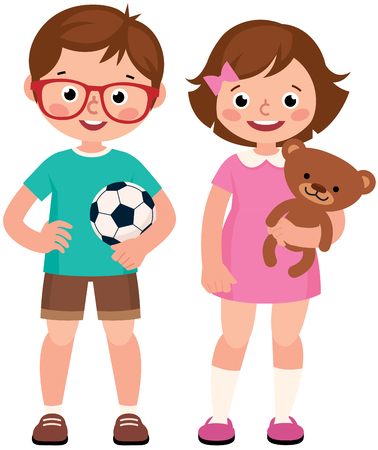 Children boy and girl holding toy teddy bear and soccer ball vector illustration
