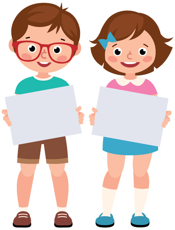 Children girl and boy holding a blank sign paper on a white background