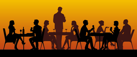 Silhouettes of people sitting at tables in a restaurant vector illustration