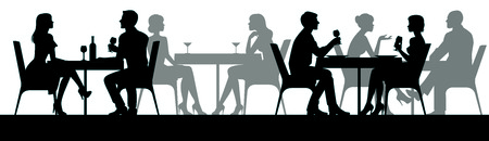 People woman and man in night club or restaurant sitting at a table stock vector illustration