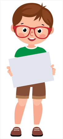 Portrait of a young little boy holding a blank sign white paper on a white background vector illustration