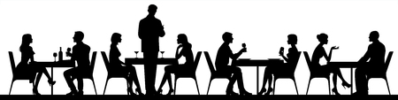 Panorama of silhouettes of people eating food and drinkers in a cafe or restaurant vector illustration