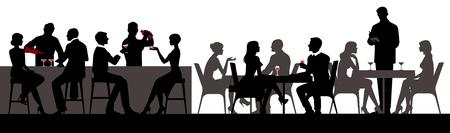 La gente come y bebe bebidas alcohólicas en la ilustración de vector de restaurante bar hall