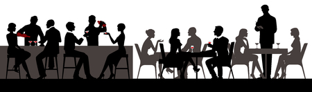 People eat and drink alcoholic beverages in the restaurant bar hall vector illustration