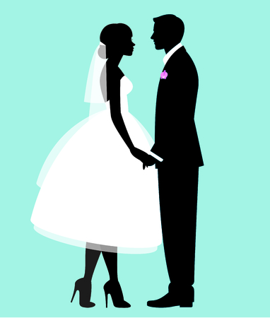 Silhouette of a loving couple of newlyweds groom and bride in full length in wedding dresses 일러스트