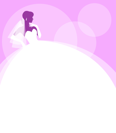 Silhouette portrait of a bride in profile in a wedding dress and veil vector illustration