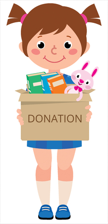 Vector illustration girl child holding a toy box for donations 일러스트