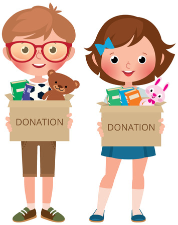 Boy and girl holding boxes of donate filled with toys and books vector cartoon illustration