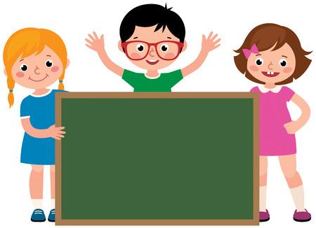 Group of cheerful school children holding an blank school board vector illustration 일러스트