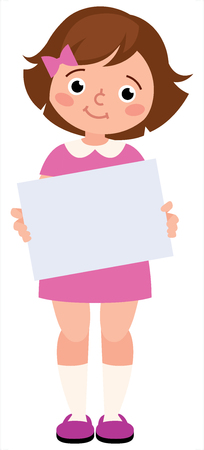 Portrait of a young little girl holding a blank sign white paper on a white background vector illustration