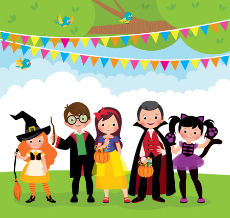 A group of children in carnival celebrations costume on Halloween party outdoors