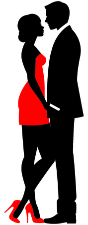 A loving couple man and woman in full length face to face vector illustration