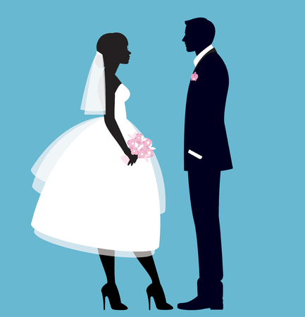 The bride and groom in full length vector illustration 일러스트