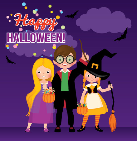 Group of cheerful children in Halloween costumes Stock vector illustration