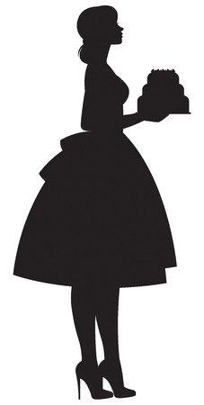 Silhouette of a housewife woman in profile in full length holding a tray with a cake vector illustration 일러스트