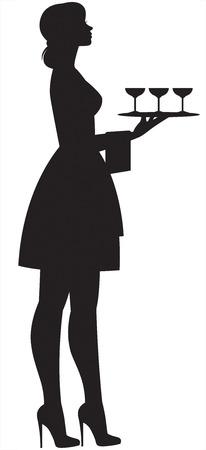 Silhouette einer jungen schönen schlanken Kellnerin in voller Länge mit Tablett und Gläsern in der Hand