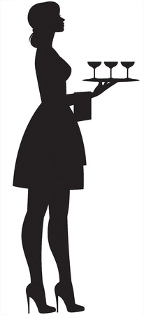 Silhouette of a young beautiful slender waitress in full length with a tray and glasses in hand