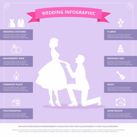 Stock Vector Illustration of wedding infographic Иллюстрация