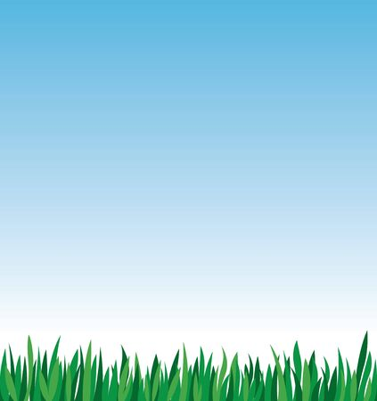 Green grass on a background of blue sky stock vector illustration