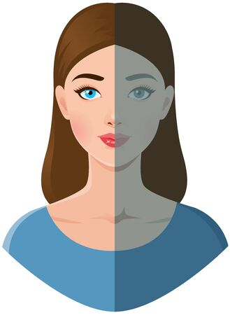 Portrait of a beautiful young woman with shiny and faded tired  skin vector illustration. Woman before and after cosmetic SPA procedures. Stock vector illustration.