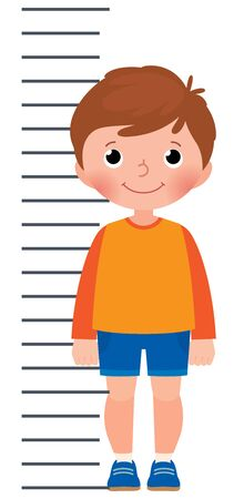 Little boy is measuring the growth on the background measuring scale vector cartoon illustration Vetores