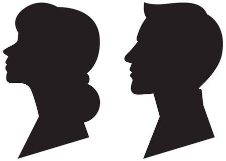 Male and female black silhouette portrait in profile vector illustration Illustration
