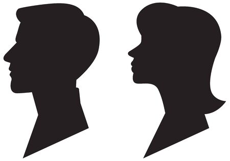 Man and woman silhouette profile portrait