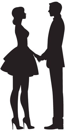 Couple in love man and woman hold each other for hands in full length on a white background Illustration