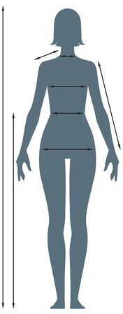 Diagrams of the female body measurements in full length. Template for measuring body proportions