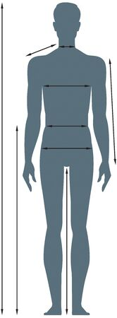 Diagrams of the male body measurements in full length. Template for measuring body proportions. Silhouette on a white background. Illustration