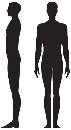 Homme de silhouette en illustration vectorielle de pleine longueur vue avant et latérale isolé sur fond blanc
