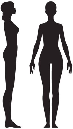 Silhouette woman in full length front and side view vector stock illustration isolated on white background Illustration