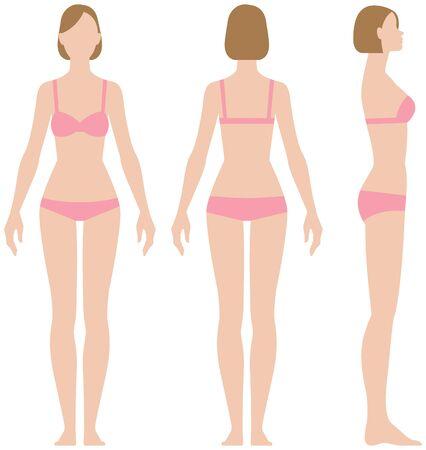 Mujer en ropa interior en tres proyecciones vista frontal lateral y posterior ilustración vectorial
