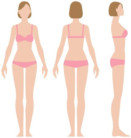 Woman in underwear in three projections front view side and back vector illustration