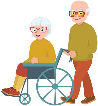 Elderly couple wife and husband. Cheerful old woman in a wheelchair vector illustration