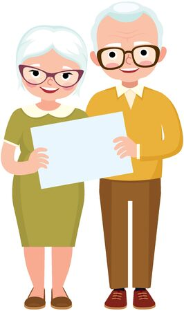 Senior married couple of lovers in full length together hold the white blank vector illustration