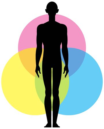 A poster on the topic of yoga. Man in full growth is the harmony of body and soul. poster design for yoga studio.Vector illustration