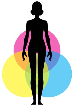 A poster on the topic of yoga. Woman in full growth is the harmony of body and soul. poster design for yoga studio.Vector illustration