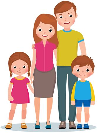 Family portrait of parents and their little children son and daughter vector illustration Ilustración de vector