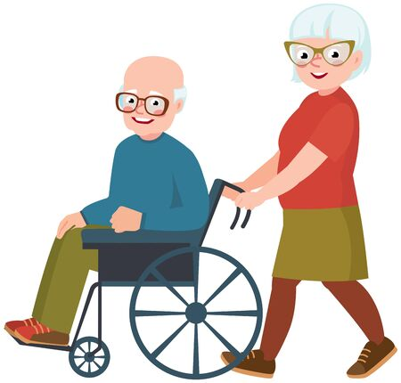 Elderly couple husband and wife. Cheerful old man in a wheelchair vector illuastration