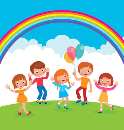 Group of cheerful children with balloons playing on the lawn vector cartoon illustration