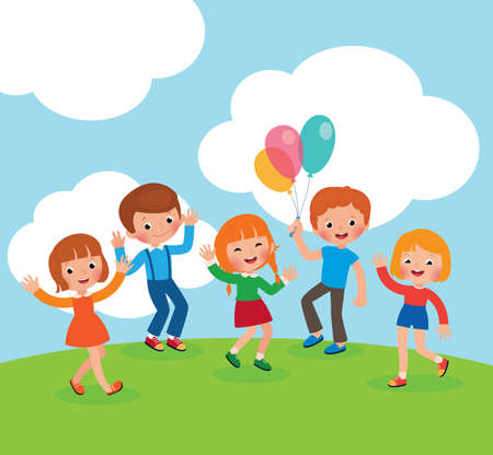 Group of kids playing and having fun in the meadow vector cartoon illustration Illustration