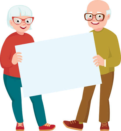 Elderly married couple of lovers in full length together hold the white blank