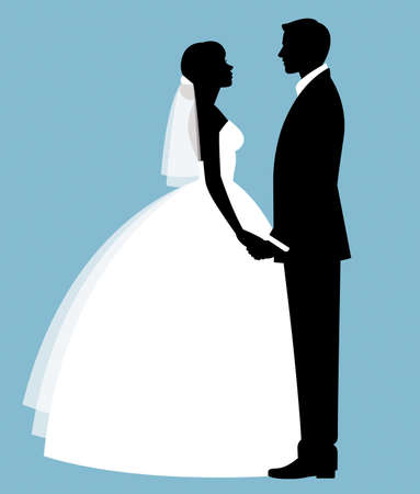 Silhouette of a loving couple of newlyweds groom and bride in full length in wedding dresses Illustration