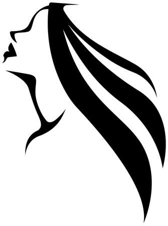 Stylized silhouette portrait of a woman with long hair in profile. Element for the logo. Vector illustration Illustration
