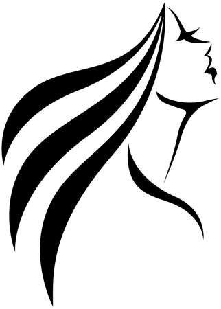 Vector illustration. linear stylized silhouette of a woman in profile. Line drawing