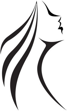 Vector illustration.Stylized silhouette of a woman in profile. Line drawing Illustration