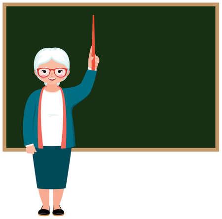 Cartoonly vector character elderly teacher standing at the blackboard