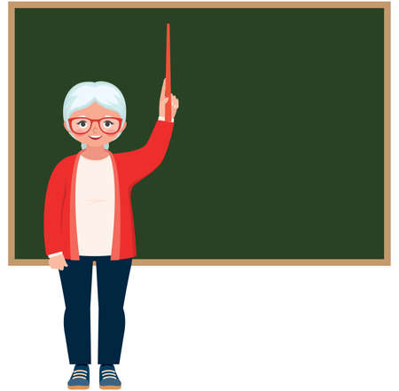 Cartoon character vector elderly teacher standing at the blackboard