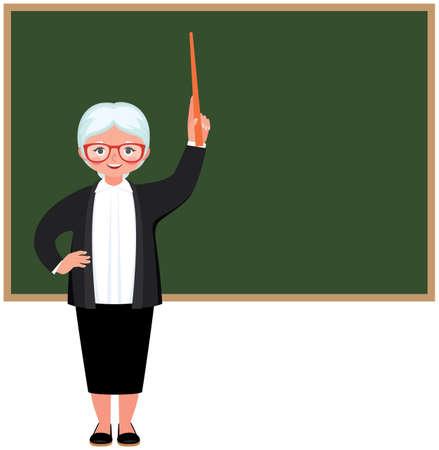 Character elderly teacher standing at the blackboard vector illustration Illustration